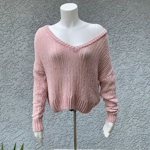 Billabong Pink Knit 🧶 Pullover Cropped Sweater